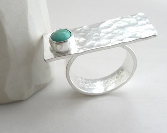 Turquoise Ocean Ring Modern Sterling Silver and Turquoise Ring