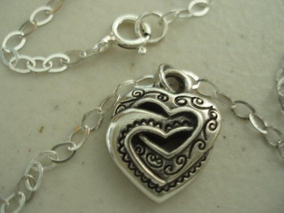 Sterling Silver Interlocked Heart Choker/Necklace