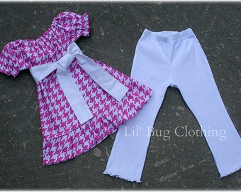 Pink Houndstooth Peasant Top and Leggings Girls 12 18 24 2t 3t 4t 5t 6 7