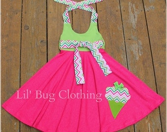Ice Cream Cone Girls Dress, Ice Cream Cone Girls Outfit, Ice Cream Cone Girls Birthday Dress, Chevron Girls Dress, Boutique Girl Clothes