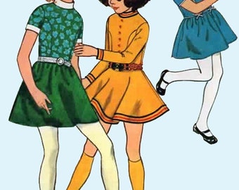 1960s Girls Mini Dress with Circular skirt Butterick 5933 60s MOD Vintage Sewing Pattern Size 6 UNCUT
