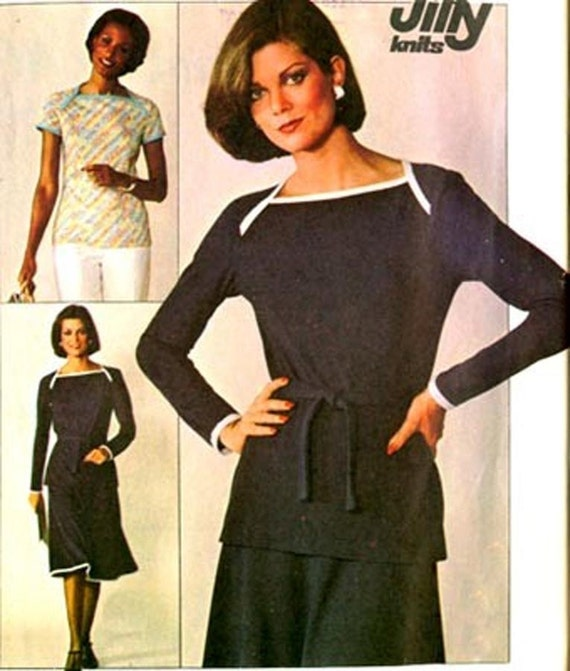 1970s Simplicity 7875 Jiffy Knit Skirt and Pullover Top Vintage 70s Sewing Pattern Size 14 (36-28-38)