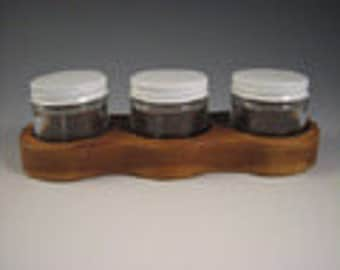 Paint Jar Holder - made of Cherry - Holds three 2 oz glass jars with metal lids