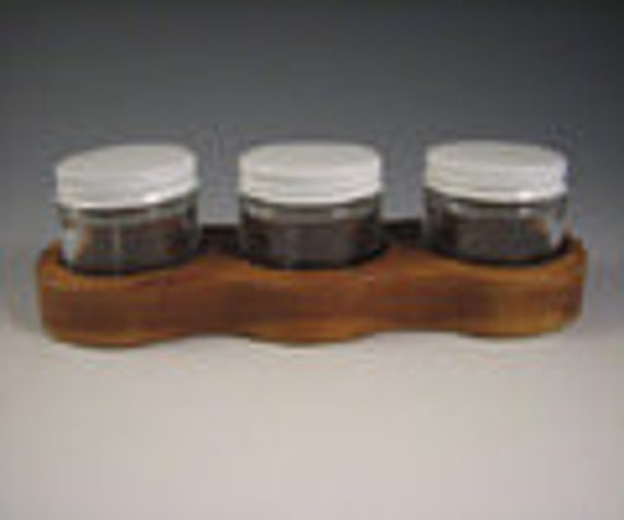 Paint Jar Holder - made of Cherry for watercolor or acrylic paints - Holds three 2 oz glass jars with metal lids
