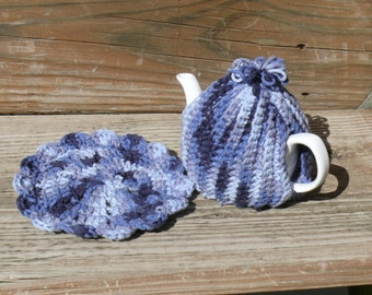 Crocheted Tea Cozy and Coaster/Doily Set 2-cup pot size