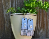 Reserved for Nan     Torched Fired Sky Blue Enamel Earrings
