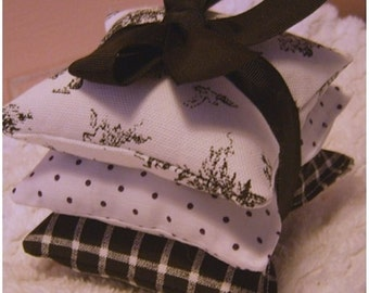 Black Toile PILLOWETTES - Set of 3  - Shabby Chic - Fragrant