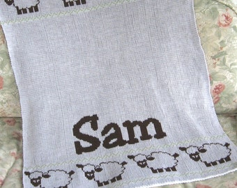 Personalize Knit Baby Blanket - Sheep