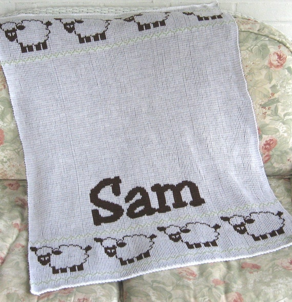 Personalize Knit Baby Blanket Sheep