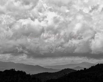 Storm Clouds Photography- Blue Ridge Mountain photos, Blue Black White Decor NC landscape wall art Storm Print 8x10 matted,11x14 Fine Art