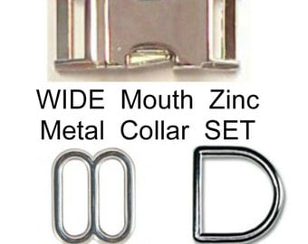 "1 SET - Solid Zinc Nickel Plate METAL - WIDE Mouth - Dog Collar Kits - 3 Pieces - 5/8"", 3/4"" or 1"""