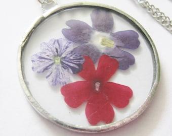 purple flower necklace - radiant orchid necklace - flower pendant - real flower - verbena necklace - statement necklace