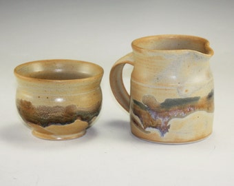 Pottery Stoneware Cream and Sugar Set