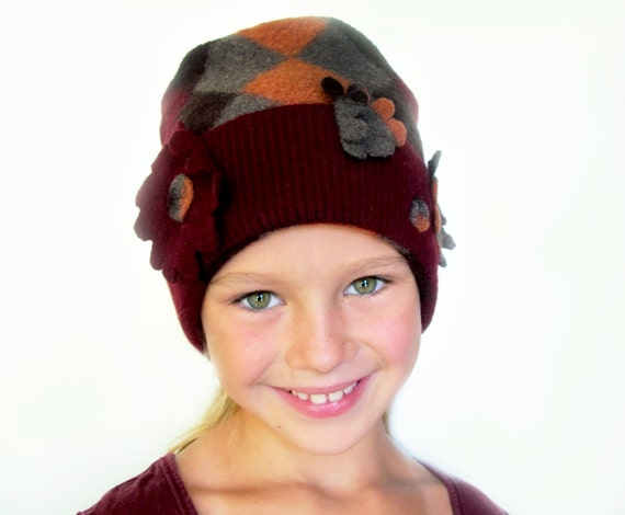 Preppy Argyle Hat fits ages 4 to adult small Eco Friendly Wool Cap