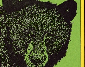 Black Bear Card Letterpress Printed Original Illustration