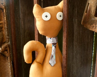 Tan/Plaid Male Large Kitty Toy/Decor !Reduced price!