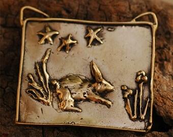 Bunny Love Portrait Style Pendant in Golden Bronze