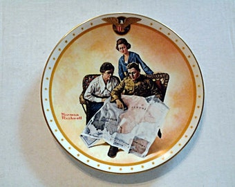 """Norman Rockwell Collector Plate """"Taking Mother Over the Top"""" (1982) in original box"""