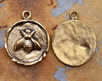 1 Antique Gold Bee Charm 24x20mm Nunn Designs