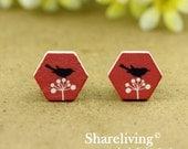 Buy 1 Get 1 Free - 20pcs 16mm  Hexagon Handmade Photo Wood Cut Cabochon   -- HWC403F