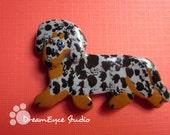 Dapple Dachshund Pin Artist Hand-Made OOAK Brooch Dog Art Jewelry Wiener Dog H2