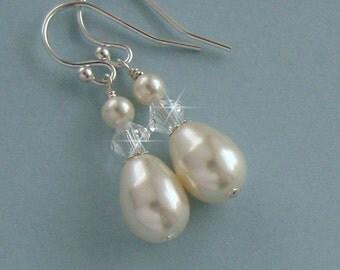 Bridal Pearl Earrings - Teardrop Pearl and Crystal Wedding Earrings - Pearl Drop Earrings - Bridal Earrings, Wedding Jewelry by JaniceMarie
