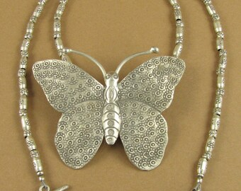 Large butterfly necklace. Fine silver.