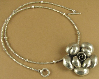 Large rose flower necklace. Fine silver.