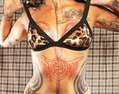 Meow. Simple Strappy Bra. Kitty Cat Bralette. leopard print bra, cute halter top. Gothic Womans Bra. Punk. Steampunk.