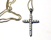 Vintage Sterling Silver Cross Necklace, Avon Jewelry Cubic Zirconia CZs Christian Religious Symbol Easter Wedding First Communion Gift