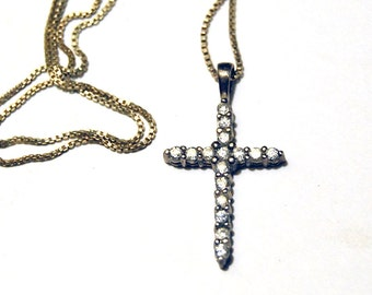 Sterling Silver Cross Necklace, Avon Jewelry, Cubic Zirconia CZs, Christian Religious Symbol, Wedding First Communion Gift, Silver Pendant