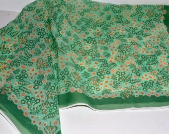 Vintage 60's Desco Scarf Mint Green with Spring Flowers 25 inch Sq