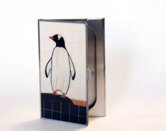 Coworker Gift- Penguin Card Case- Pittsburgh Penguins- Graduation Gift- Corpoarte Gifts- Subway Art- New York City- Manhattan- City Art