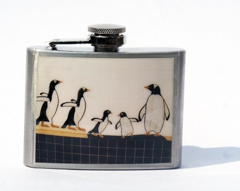 FLASK - Hip Flask-Penguin Flask - NYC Subway Mosaic Flask - Central Park Zoo Flask, Graduation Gift - 21st Birthday Gift- 4 oz