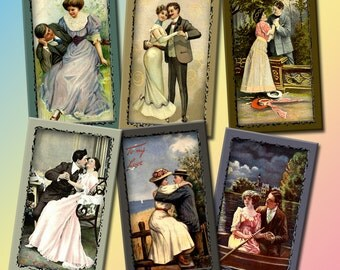 RoMaNCe -Vintage Art TAgs/Cards/Craft Supplies- INSTaNT DOWNLoAD- Printable Collage Sheet Download JPG Digital File