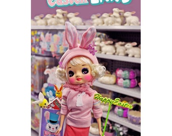 easter bonkers bunny doll print aceo size SWAG HAG