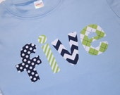 Boys Lowercase FIVE Shirt for 5th Birthday - Size 6 short sleeve light blue with lowercase lettering in navy and lime green