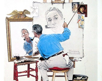 Triple Self Portrait - Large Norman Rockwell Poster Sized Print - 1977 Vintage Book Page - 15 x 12