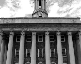 Black and White Penn State Photo, Old Main 1, Graduation, Large Wall Art, PSU, Architecture, Nittany Lions, 20x24 inch Art Print