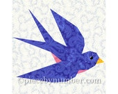 Swallow bird quilt block pattern, blue bird quilt pattern, instant download animal patterns, paper pieced quilt patterns, bluebird patterns