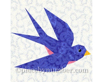 Swallow bird quilt block pattern, blue bird quilt pattern, instant download animal patterns, paper pieced quilt patterns, bluebird patterns