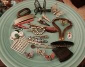 Lot Hair Accessories Clips Butterfly Rhinestone Bobbie Pins Retro Vintage  Jewelry Assortment Destash Reuse Repair