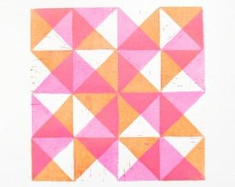 Quilt Block Original Woodblock Print