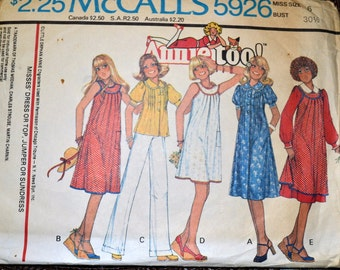 Vintage 1978 Sewing Pattern McCall's  5926 Misses' Annie Too! Dress or Tops Size 6 Bust 29 Complete