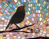 Dawn Robin Greetings Card from an original mosaic - Mosaic Art - Robin Silhouette Card