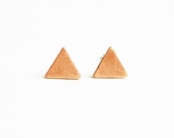 6 mm Teeny Tiny Brush Copper Triangle Stud Earrings 925 Sterling Silver Posts,Bridesmaid Gift,Minimal Jewelry,Everyday Jewelry,Geometric