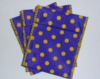 Jewelry Bead Pouches - 11 Purple yellow dots - ribbon