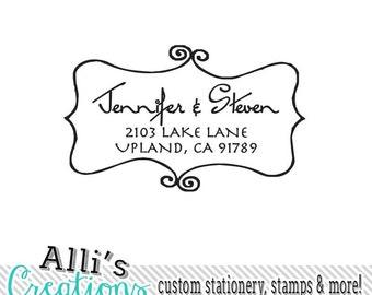 Swirly Border Return Address Stamp Self Inking Custom Stamper