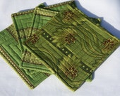 Olive Green Leaf  2 sided Quilted Coasters Set of 4