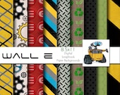Disney Wall E Inspired 8.5x11 A4 Digital Scrapbook Paper Backgrounds -INSTANT DOWNLOAD - PU and S4H